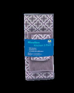Kitchen Towel/Dish Cloth/Drying Mat Set (Grey)