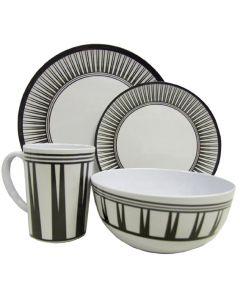 Leisurewize 16 Piece Melamine Kitchenware Set (Stripe)