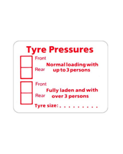 W4 Tyre Pressure Sticker